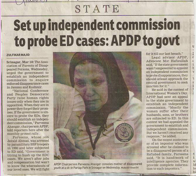 Set up independent commission to probe ED Cases : APDP to Govt